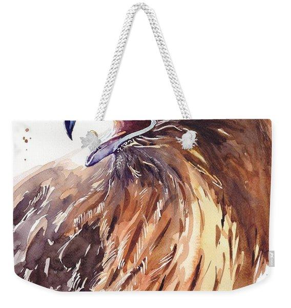 Hawk Watercolor Weekender Tote Bag