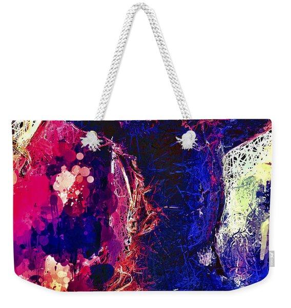 Weekender Tote Bag featuring the mixed media Hawkeye by Al Matra