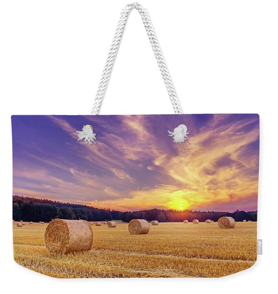 Hay Bales And The Setting Sun Weekender Tote Bag