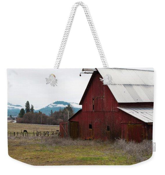 Weekender Tote Bag featuring the photograph Hayfork Red Barn by Lorraine Devon Wilke