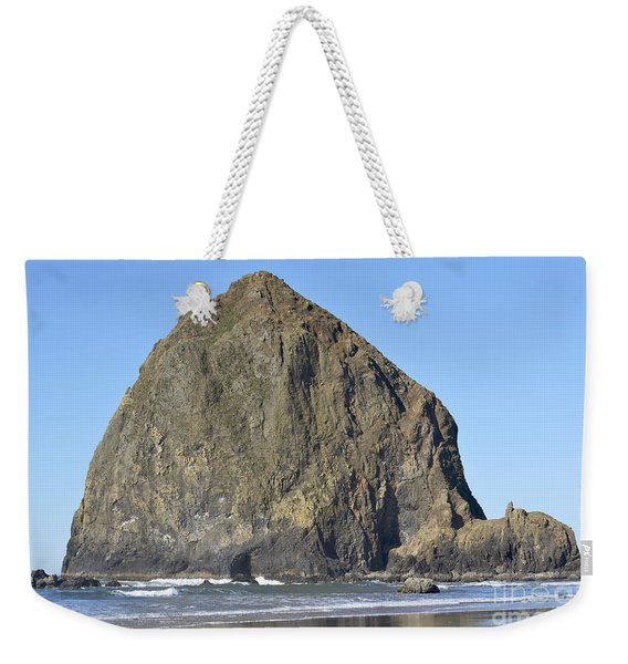 Haystack Rock Blue Sky Weekender Tote Bag