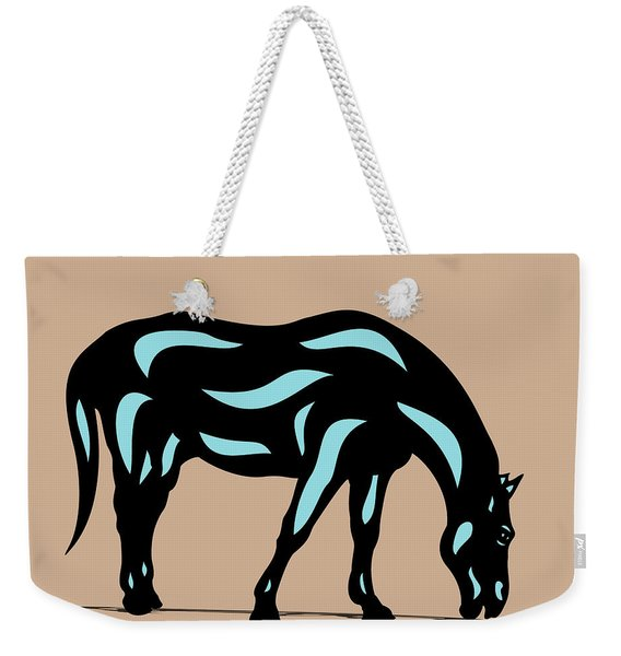 Hazel - Pop Art Horse - Black, Island Paradise Blue, Hazelnut Weekender Tote Bag