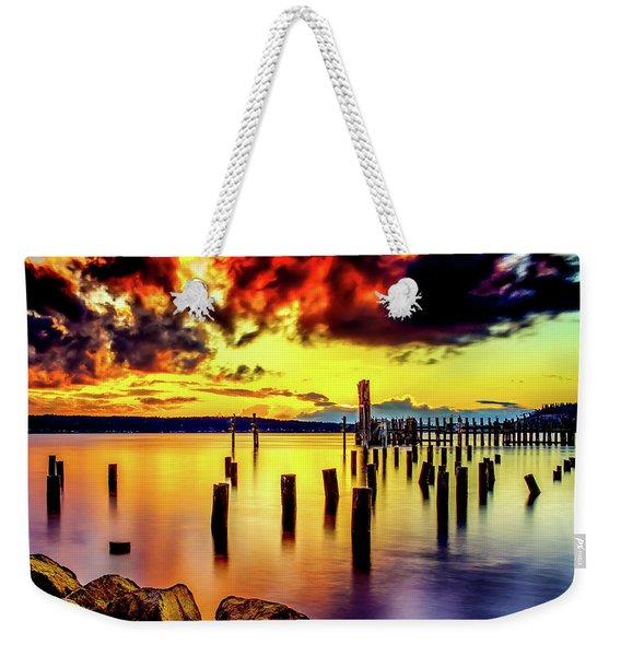 Hdr Vibrant Titlow Beach Sunset Weekender Tote Bag