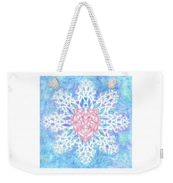 Heart In Snowflake Weekender Tote Bag