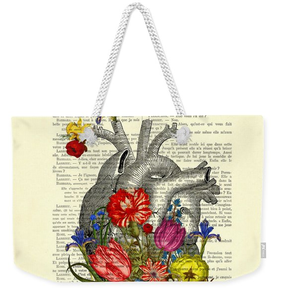 Heart With Colorful Flowers Weekender Tote Bag