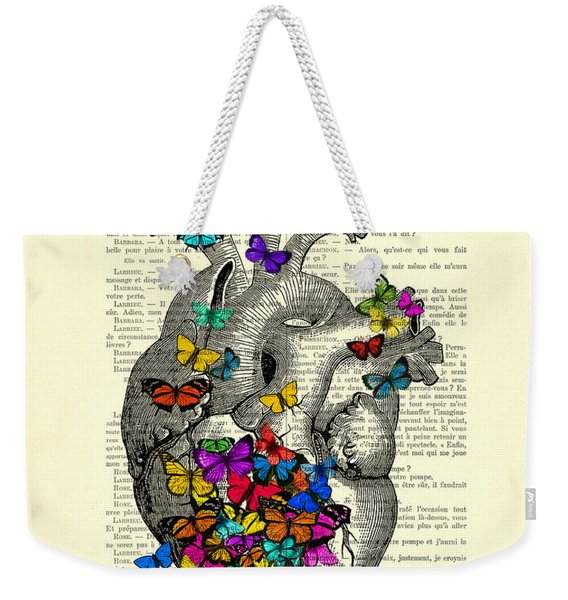 Heart With Rainbow Butterflies Weekender Tote Bag