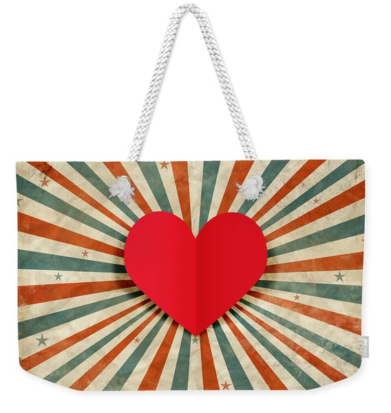 Heart With Ray Background Weekender Tote Bag