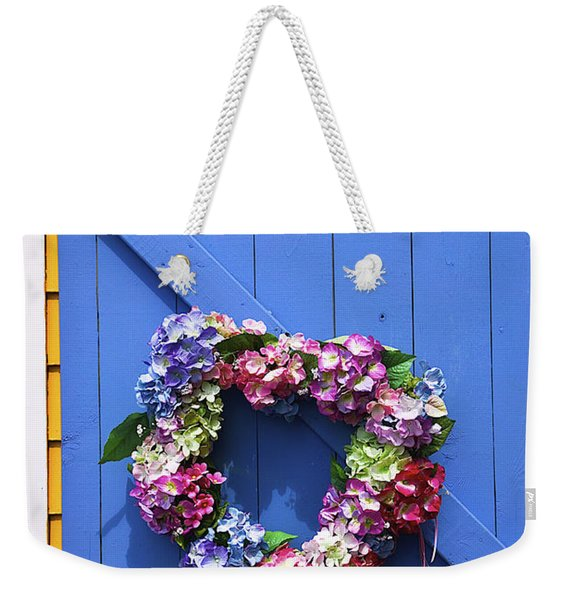 Heart Wreath On Blue Door Weekender Tote Bag