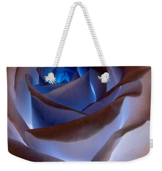 Weekender Tote Bag featuring the photograph Heartglow Rose by Writermore Arts