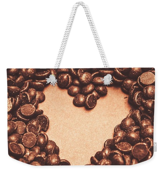 Hearts And Chocolate Drops. Valentines Background Weekender Tote Bag