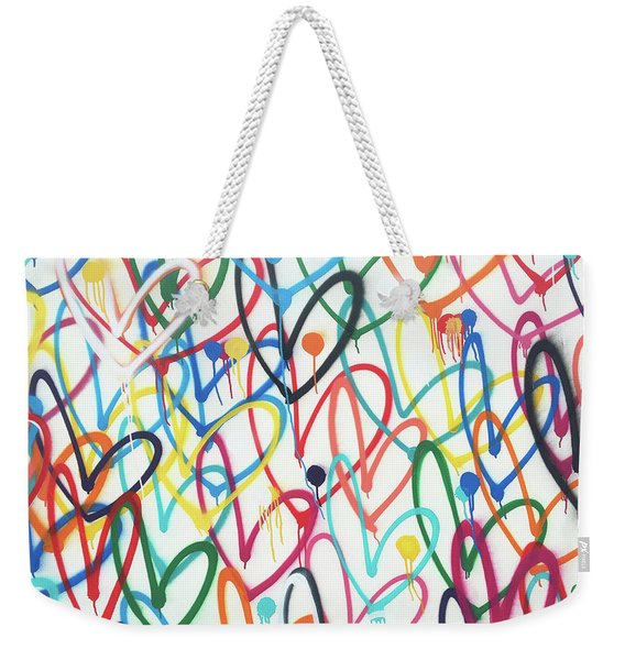 Hearts And Dots Weekender Tote Bag