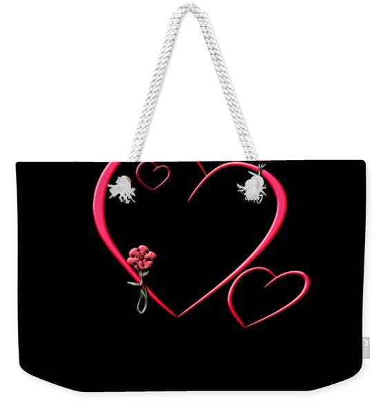Hearts And Flowers Weekender Tote Bag