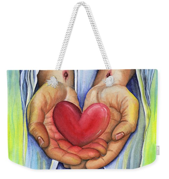 Weekender Tote Bag featuring the painting Heart's Desire by Nancy Cupp