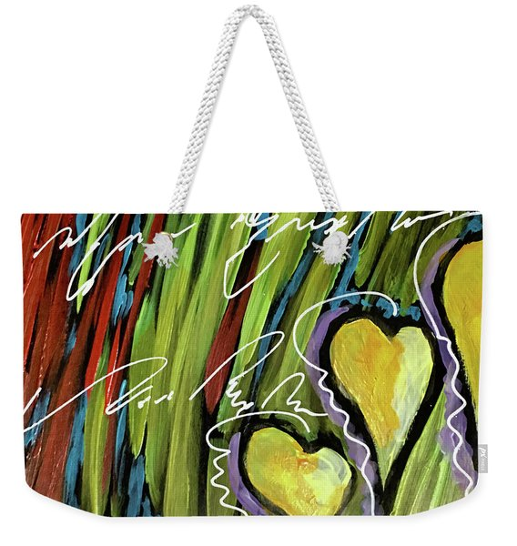 Hearts In The Grass Weekender Tote Bag