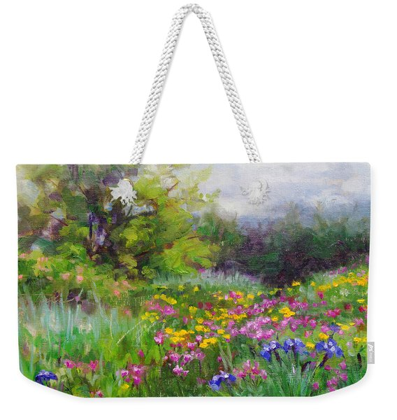 Weekender Tote Bag featuring the painting Heaven Can Wait by Talya Johnson
