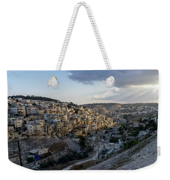 Heaven Shines On The City Of David Weekender Tote Bag