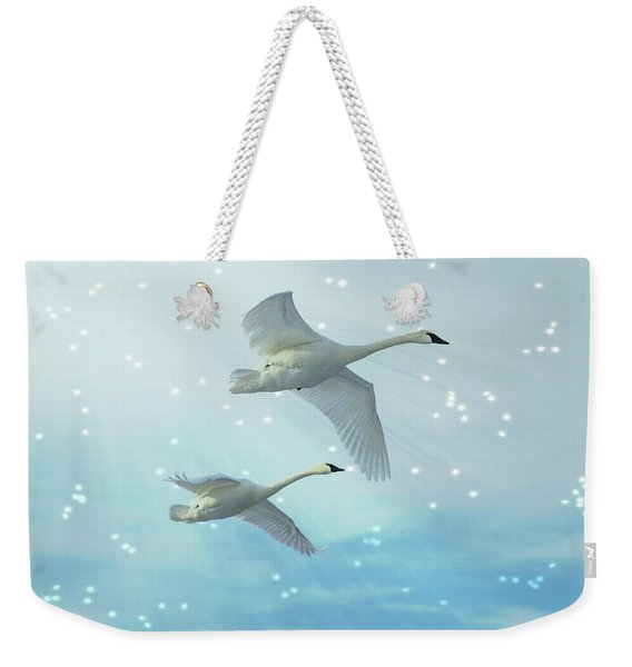 Heavenly Swan Flight Weekender Tote Bag