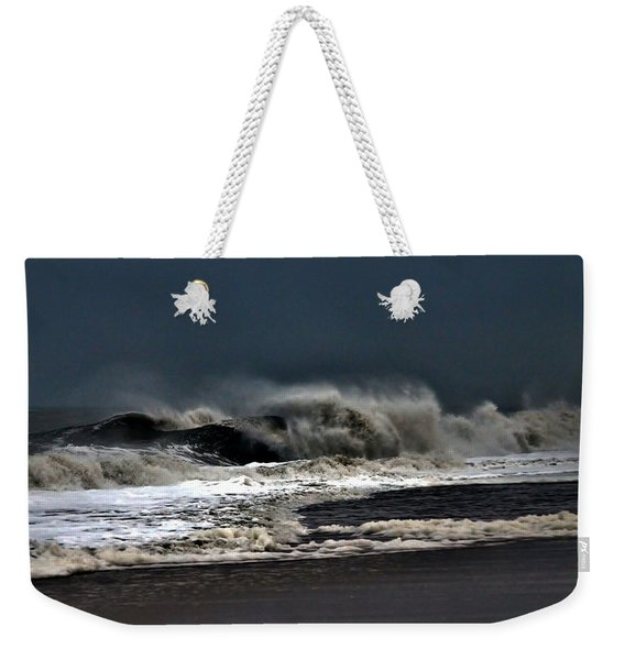 Weekender Tote Bag featuring the photograph Stormy Surf by Kim Bemis