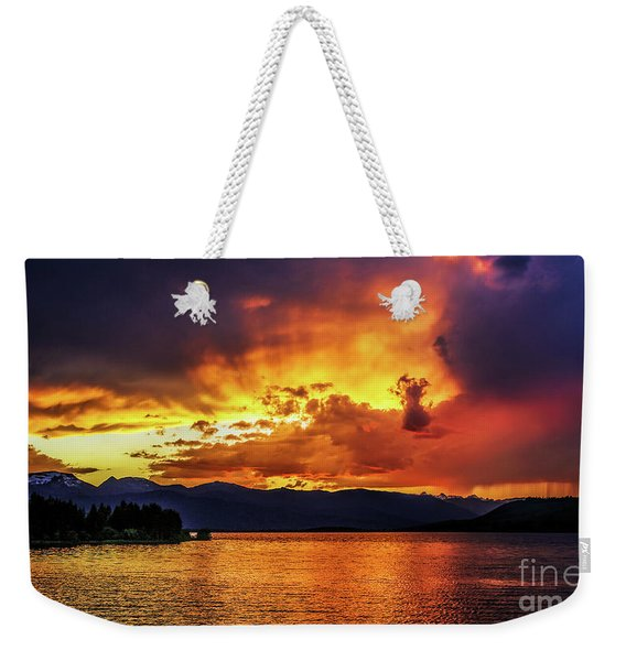 Weekender Tote Bag featuring the photograph Hebgen Lake Sunset by Jemmy Archer