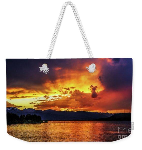 Hebgen Lake Sunset Weekender Tote Bag