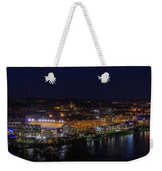 Heinz Field At Night From Mt Washington Weekender Tote Bag