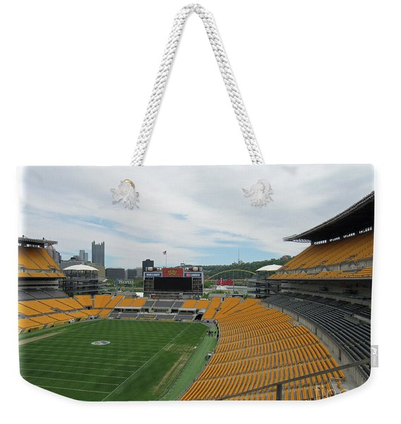 Heinz Stadium With Pittsburgh Skyline Weekender Tote Bag