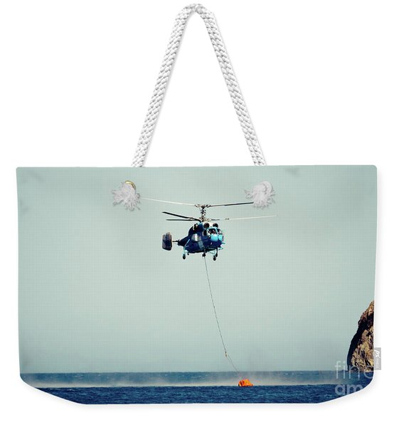 Helicopter Firefighter Take Water In The Sea Weekender Tote Bag