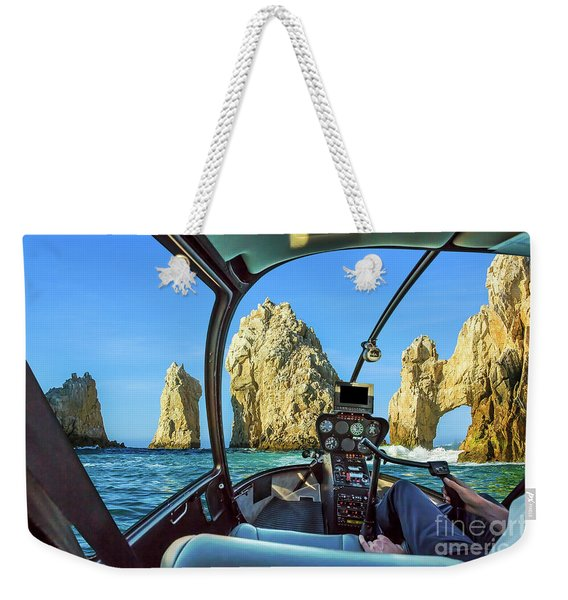 Weekender Tote Bag featuring the photograph Helicopter On Cabo San Lucas by Benny Marty