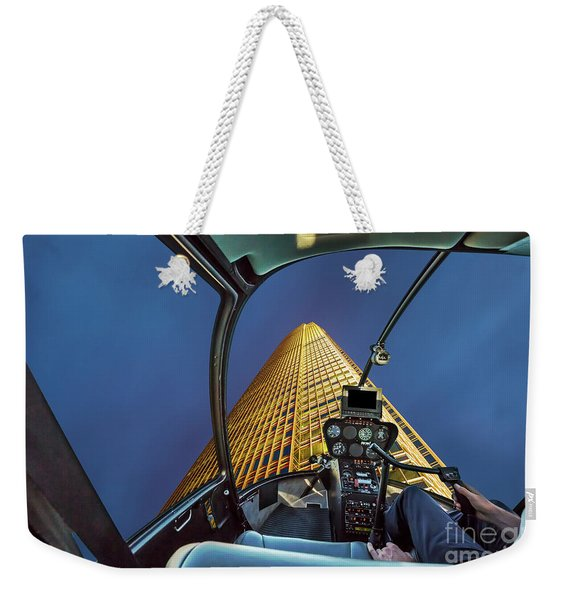 Helicopter On Skyscaper Facade Weekender Tote Bag