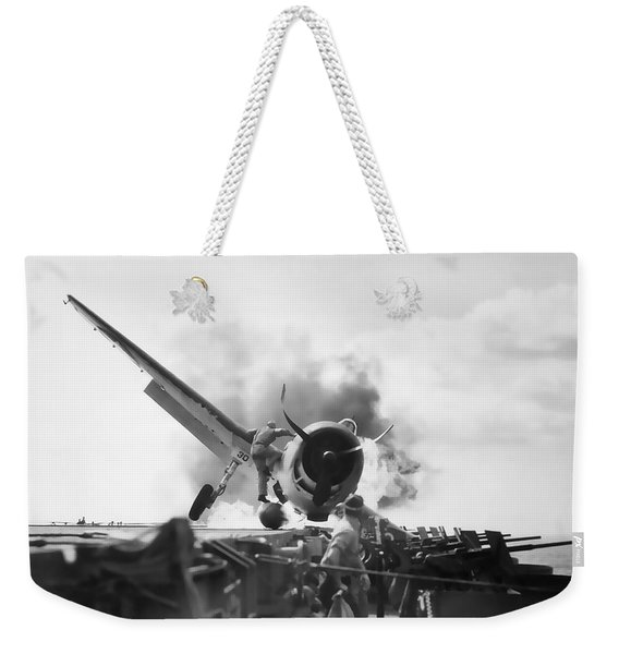 Hellcat Aircraft Slams Into U S S Enterprise Carrier  1943 Weekender Tote Bag
