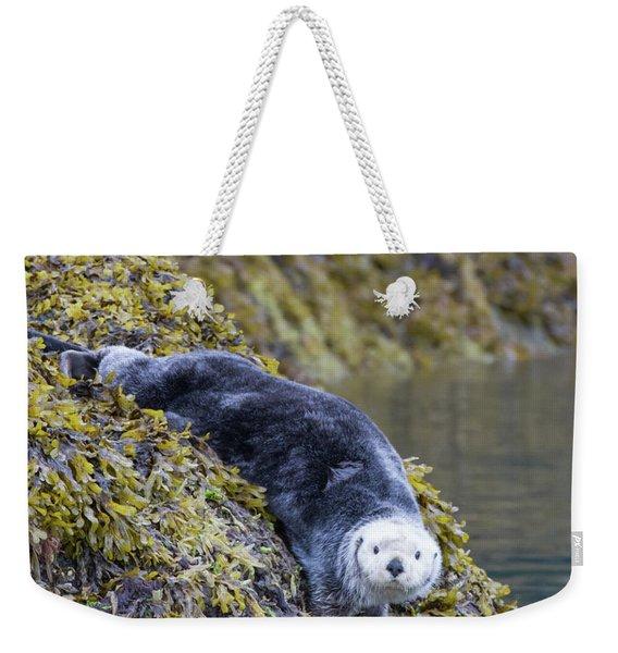 Hello Sea Otter Weekender Tote Bag