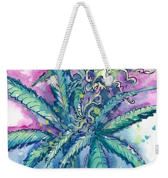 Weekender Tote Bag featuring the painting Hemp Blossom by Ashley Kujan