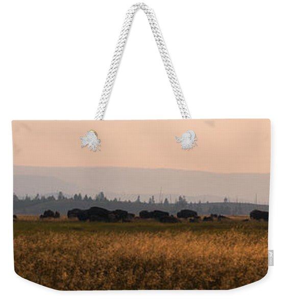 Herd Of Bison Grazing Panorama Weekender Tote Bag