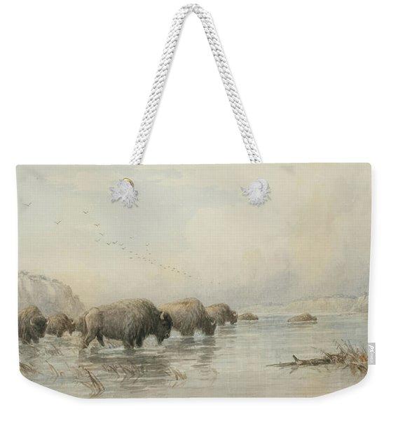 Herd Of Buffalo Watering Weekender Tote Bag