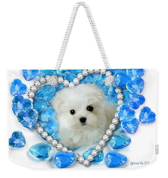 Hermes The Maltese And Blue Hearts Weekender Tote Bag