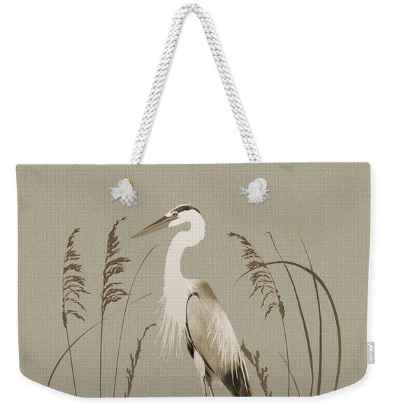 Heron And Lotus Flowers Weekender Tote Bag