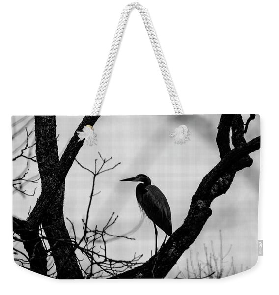 Heron In Tree Weekender Tote Bag