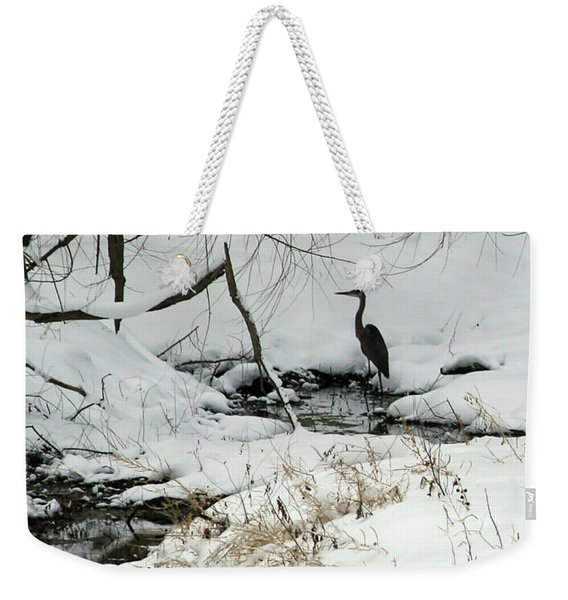 Heron In Winter Weekender Tote Bag