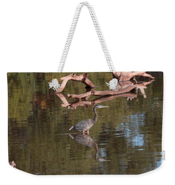Heron Reflection Weekender Tote Bag