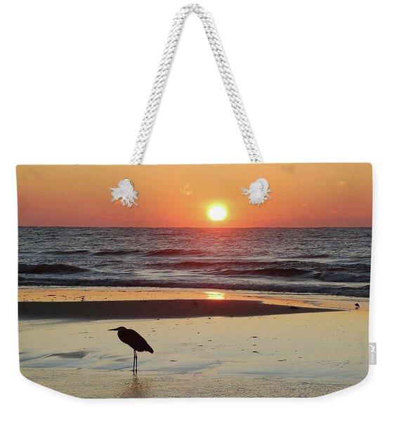 Heron Watching Sunrise Weekender Tote Bag