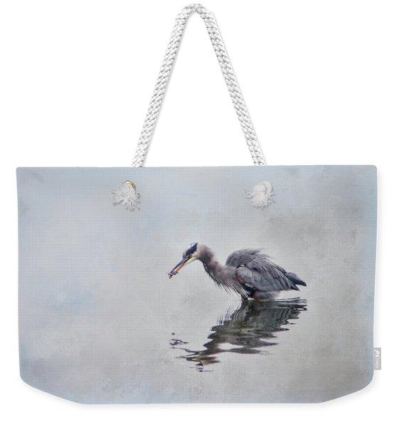 Heron Fishing  - Textured Weekender Tote Bag
