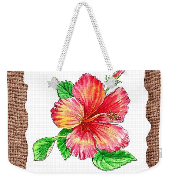 Hibiscus Flower Botanical Weekender Tote Bag