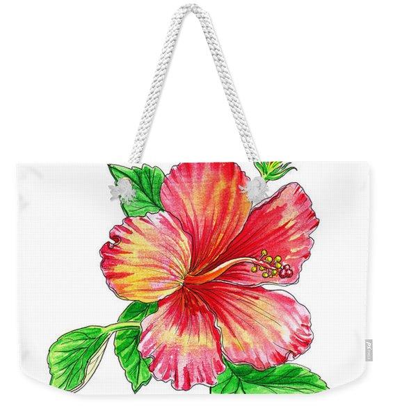 Hibiscus Flower White Background Weekender Tote Bag