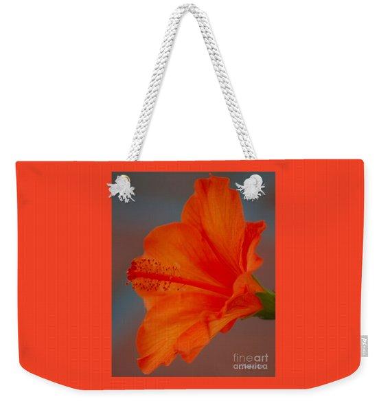 Hot Orange Hibiscus Weekender Tote Bag