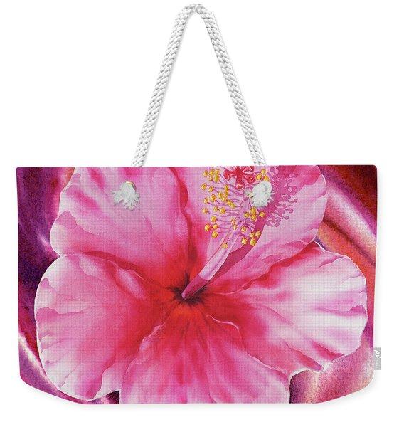 Hibiscus Watercolor Vortex Weekender Tote Bag