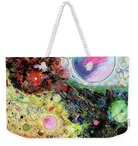Weekender Tote Bag featuring the mixed media Hidden Aliens by Michael Lucarelli