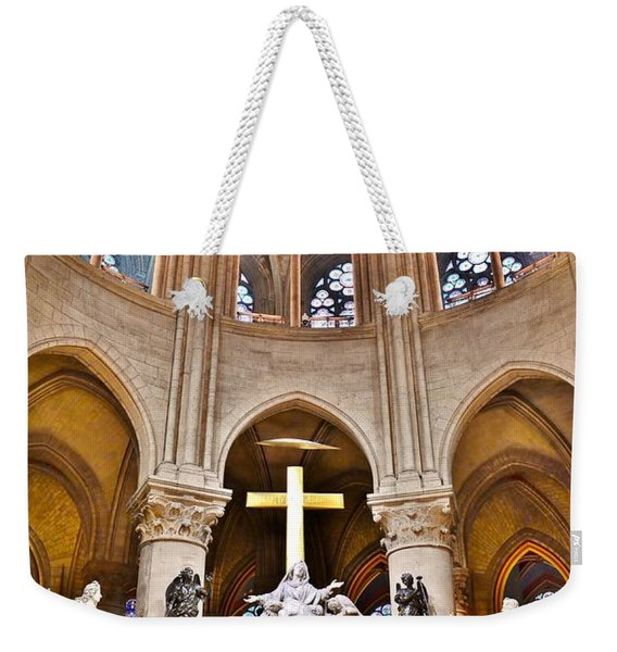 Weekender Tote Bag featuring the photograph High Alter Notre Dame Cathedral Paris France by Kim Bemis