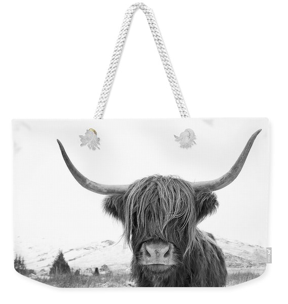 Highland Cow Mono Weekender Tote Bag