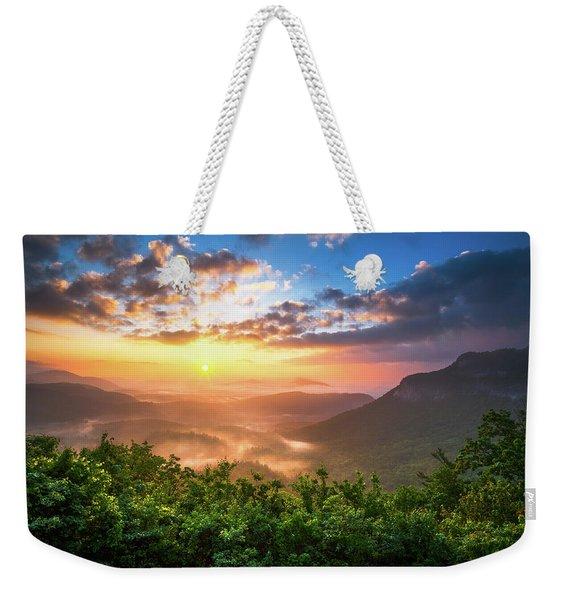 Highlands Sunrise - Whitesides Mountain In Highlands Nc Weekender Tote Bag