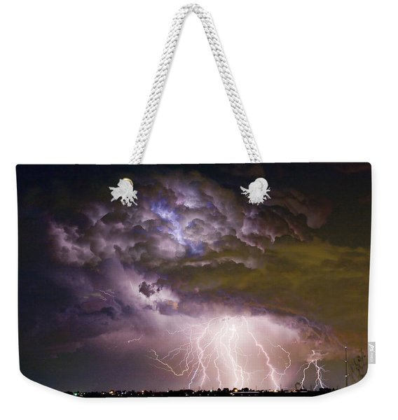 Highway 52 Storm Cell - Two And Half Minutes Lightning Strikes Weekender Tote Bag